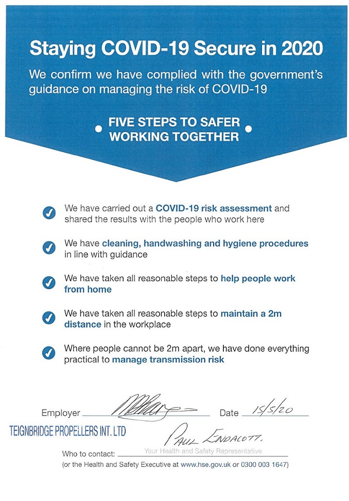 Teignbridge Propellers confirms compliance with the HSE 'Staying Covid-19 Secure in 2020'