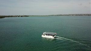 Solar catamaran on the water